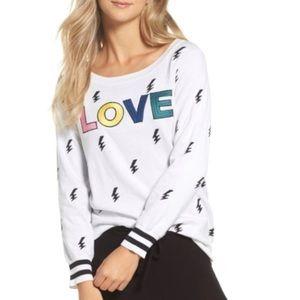 NWT Chaser LOVE Lightning Intarsia White Sweater M
